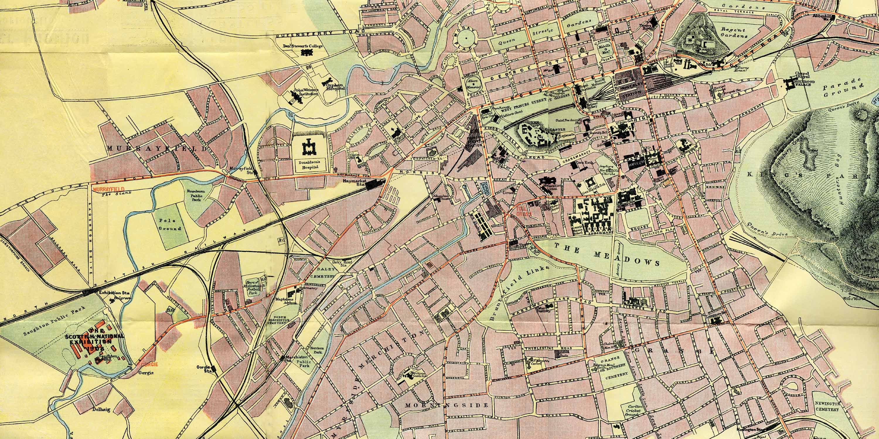 Edinburgh Map Transport to the 1908 Exhibition at Saughton Enlarged