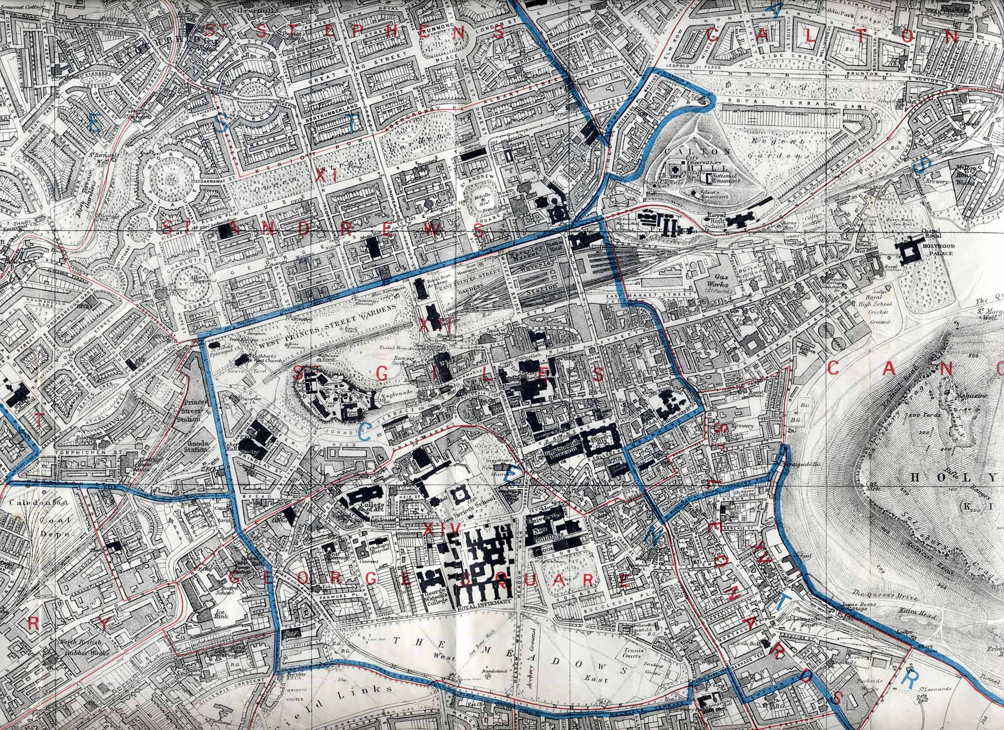 Map of Edinburgh, 1915  -   Central Edinbugh Section  -  Enlarged