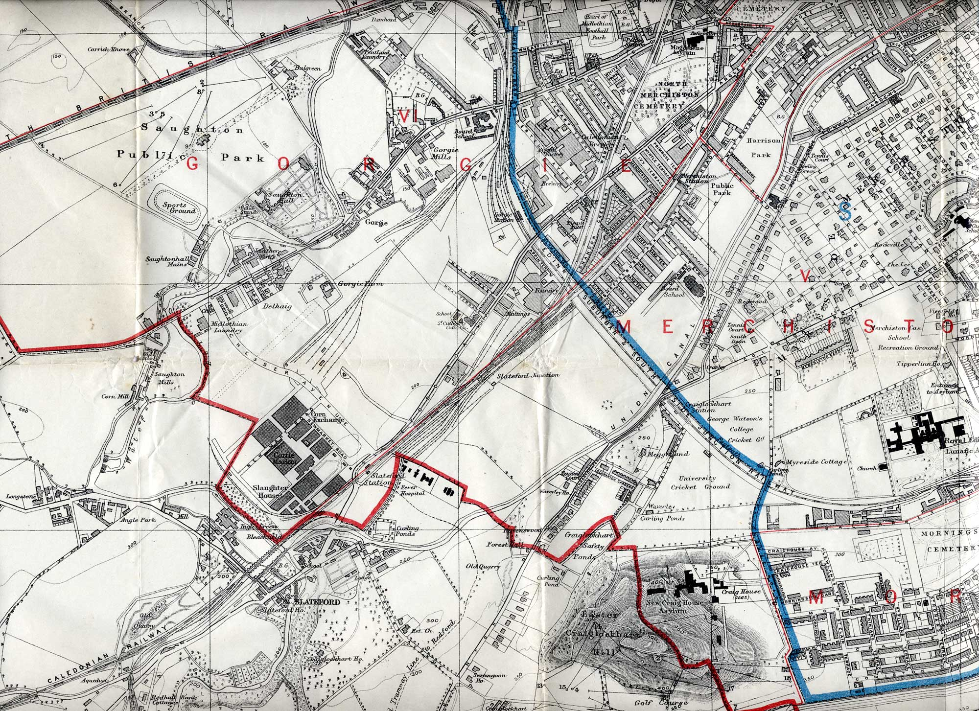 Map of Edinburgh, 1915  -   South-west Edinbugh Section  -  Enlarged