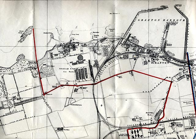 Map of Edinburgh, 1915  -   Edinburgh Waterfront section  -  Enlarged