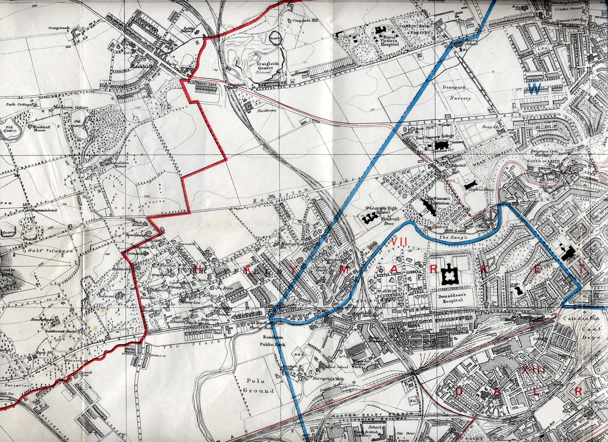 Map of Edinburgh and Leith, 1915  -  West Edinburgh section
