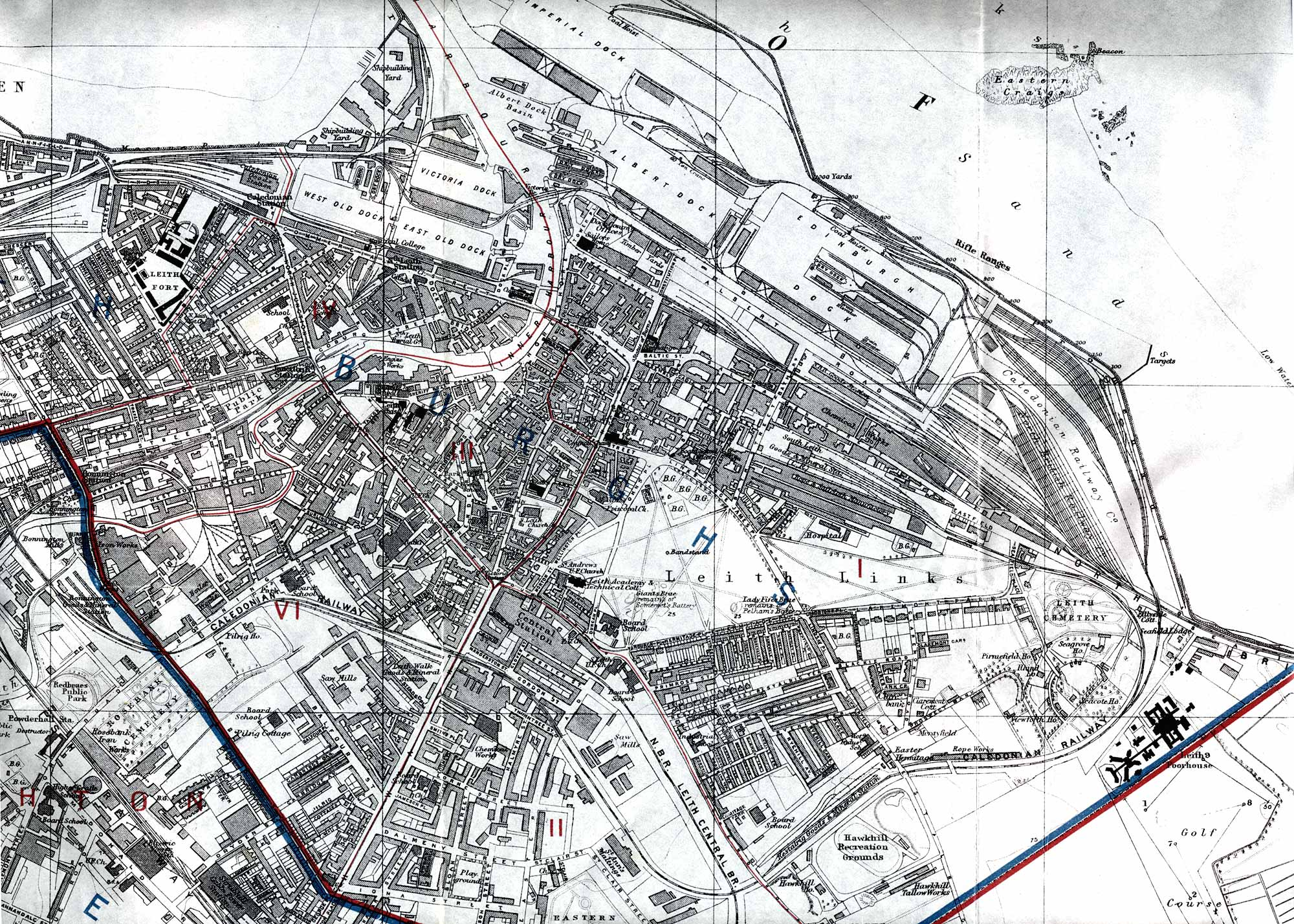 Edinburgh map Leith 1915 enlarged