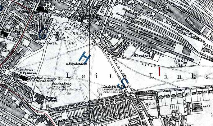 Edinburgh and Leith map, 1915  -  Leith Links
