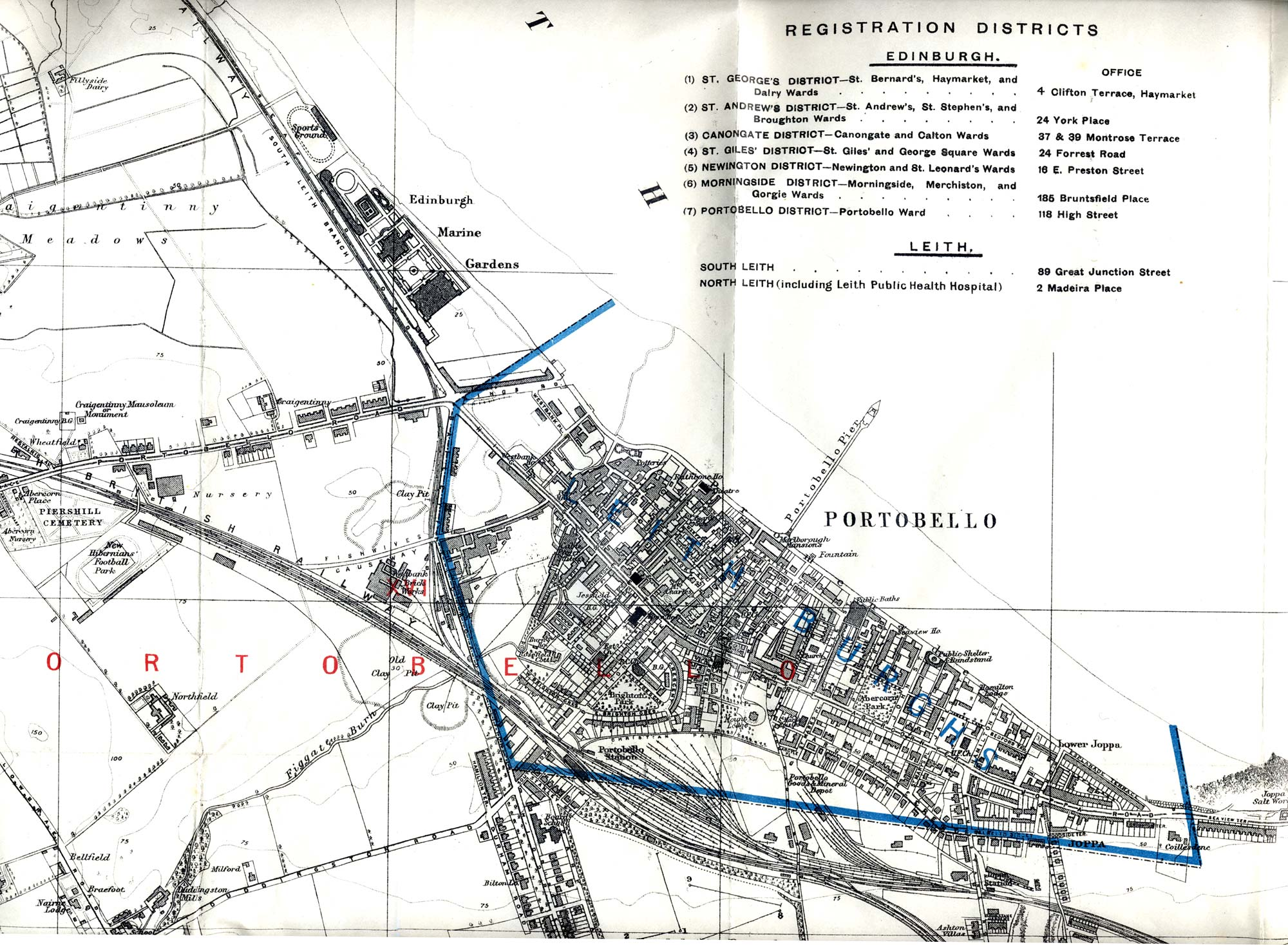 Map of Edinburgh and Leith. 1915  -  Portobello