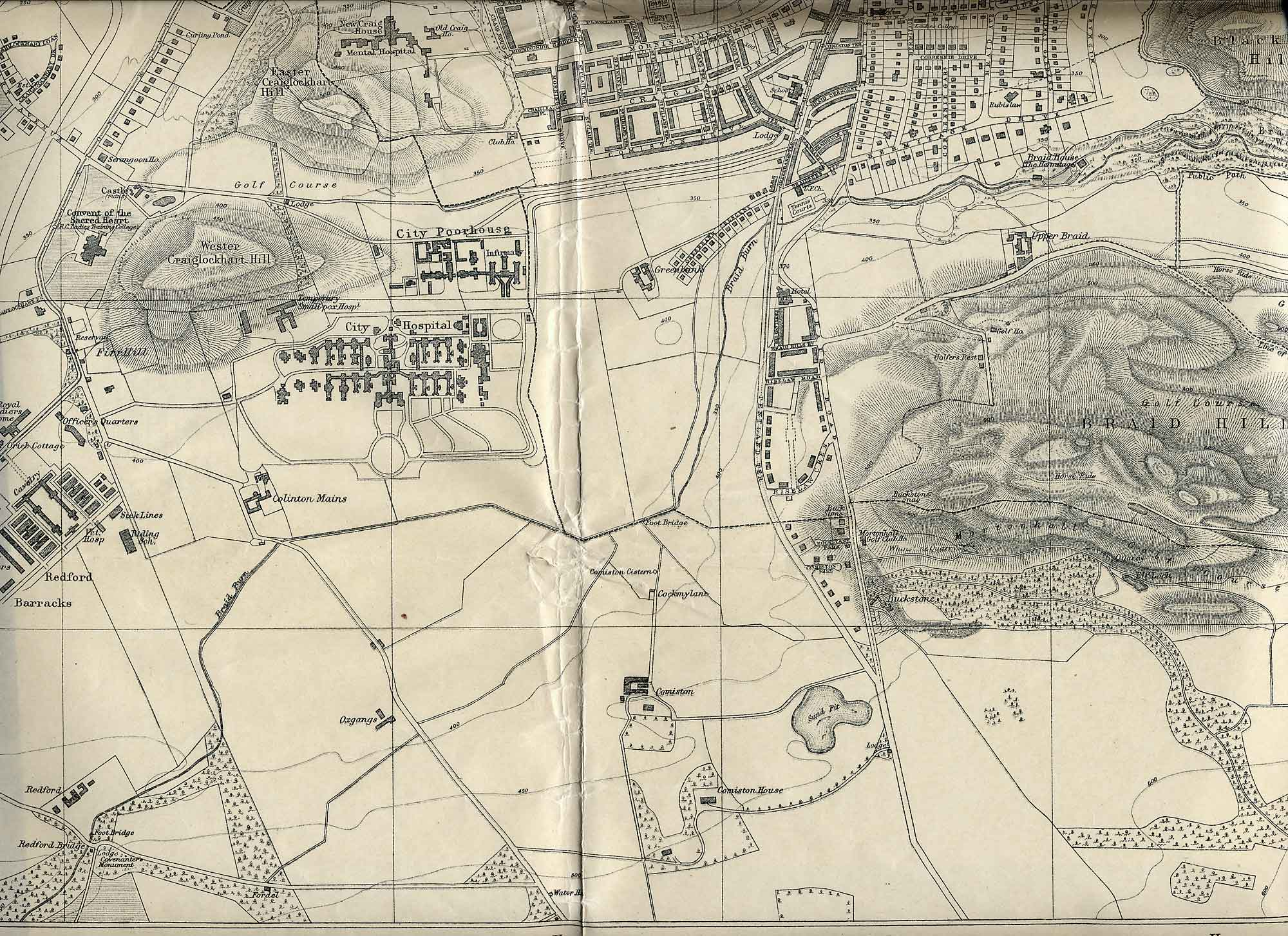 Edinburgh and Leith map, 1925  -  Craiglockhart and Braid Hills section  -  Enlarged