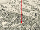 Map showing the location of  North Leith Cemetery at Coburg Street, Leith