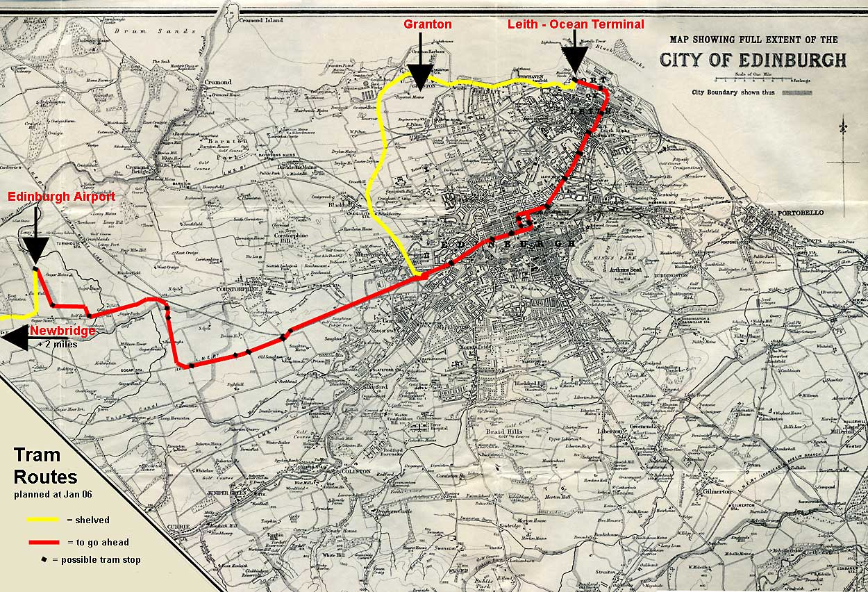Map by John Bartholomew & Son Ltd.  -  The whole city of Edinburgh, 1925 - showing the proposed tram lines for 2010 onwards, as planned atJanuary 2006.