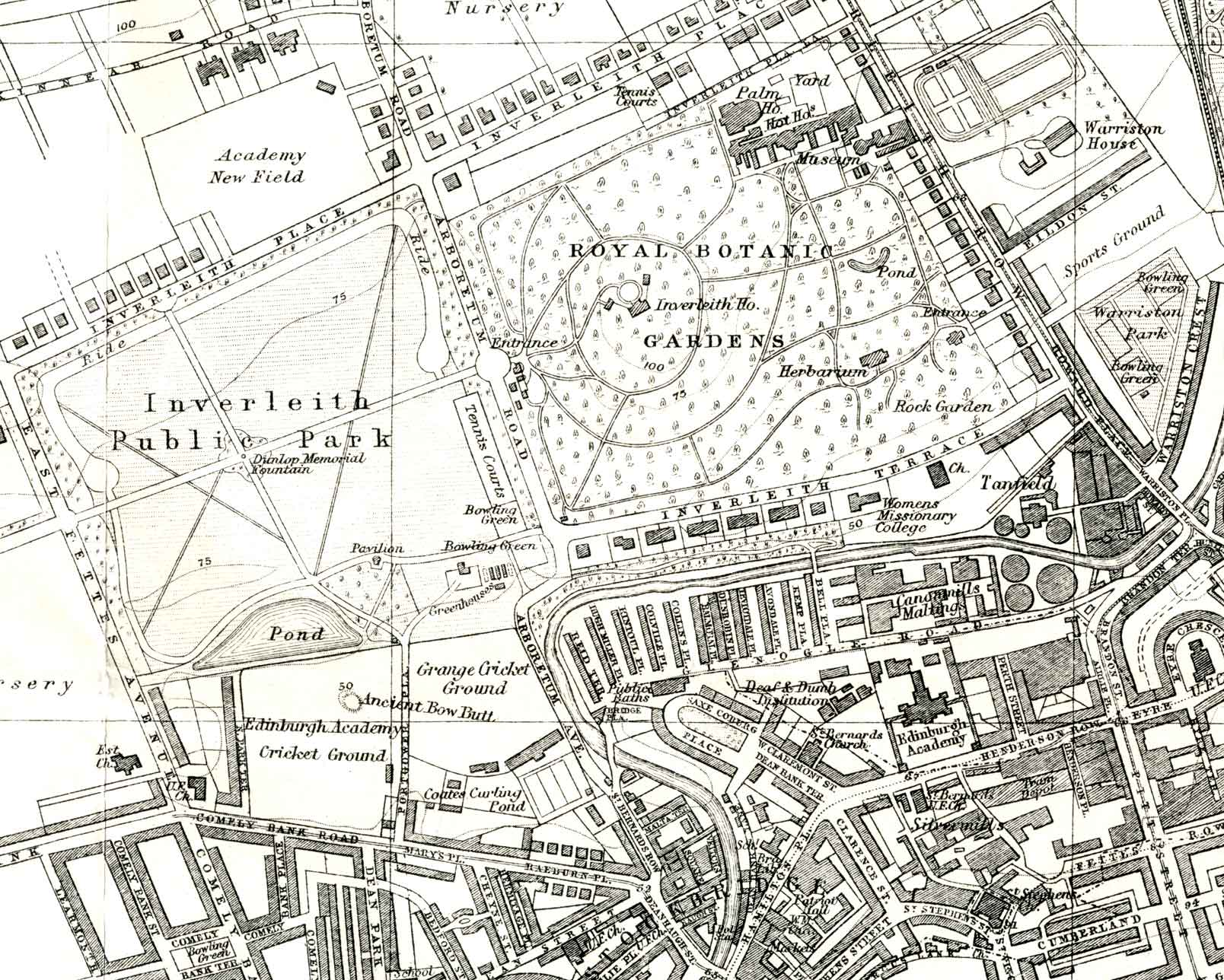 Edinburgh and Leith map, 1925  -  Inverleith section  -  Enlarged