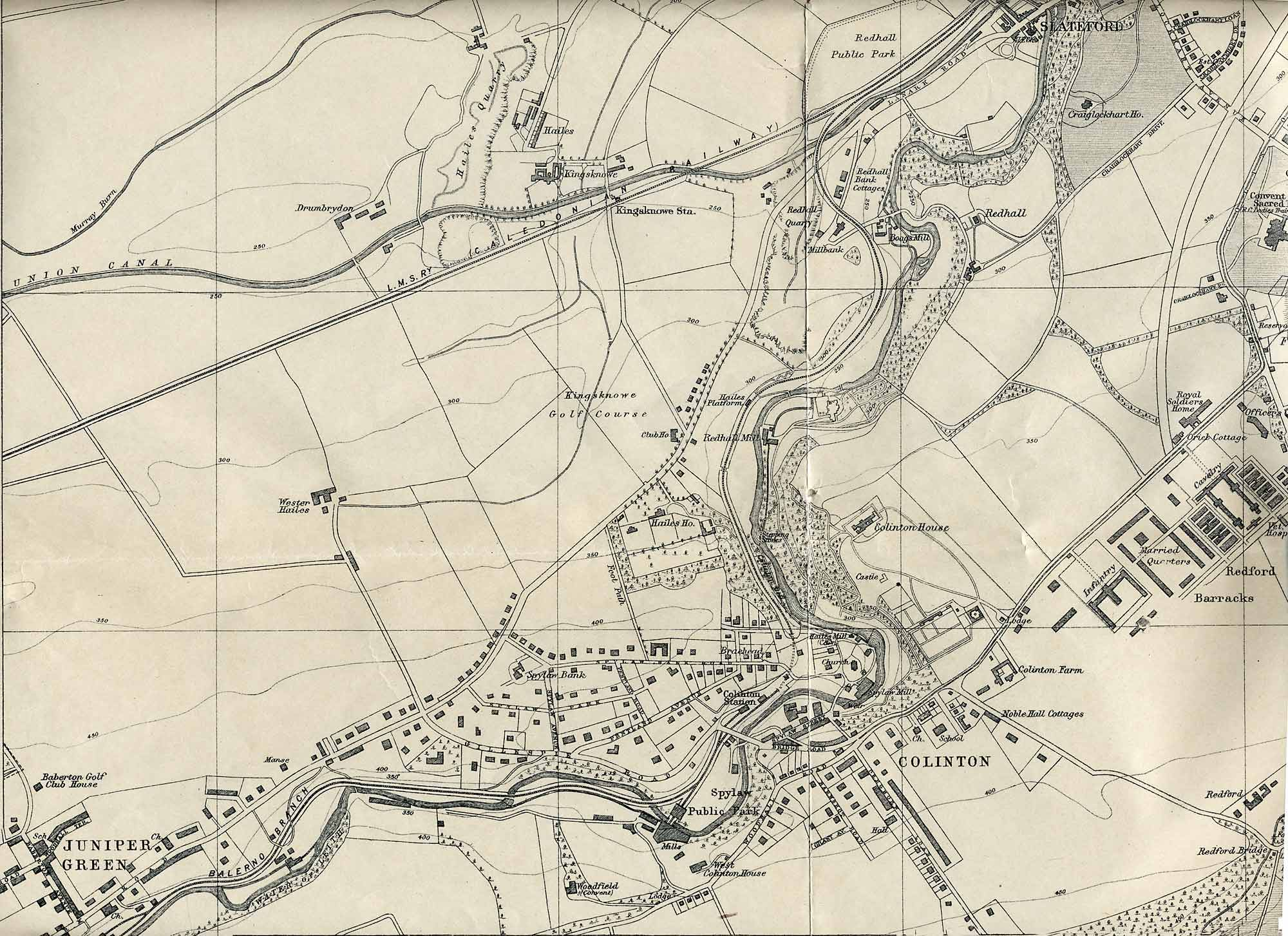 Edinburgh and Leith map, 1925  -  Juniper Green and Slateford section  -  Enlarged