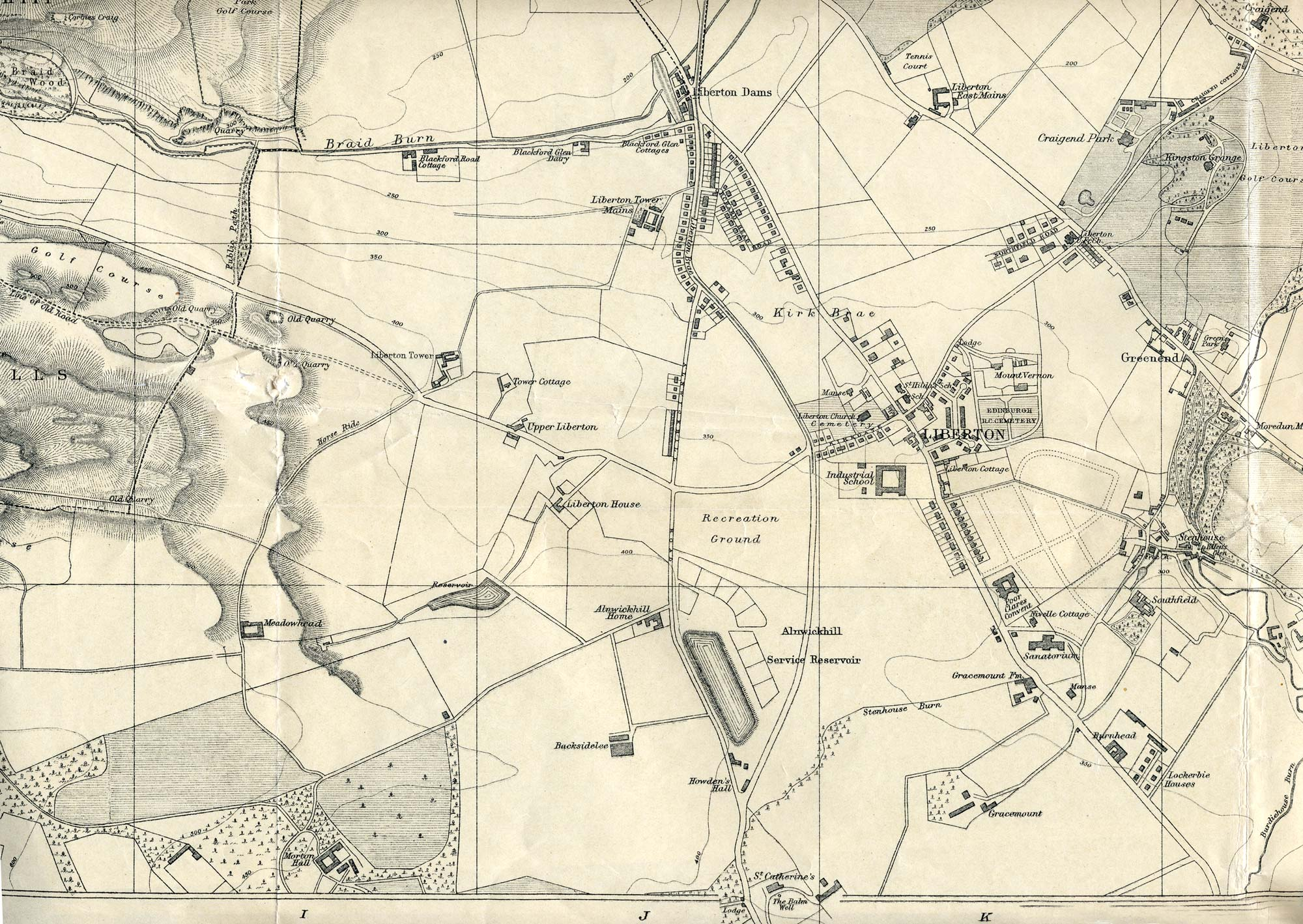 Edinburgh and Leith map, 1925  -  Liberton section  -  Enlarged