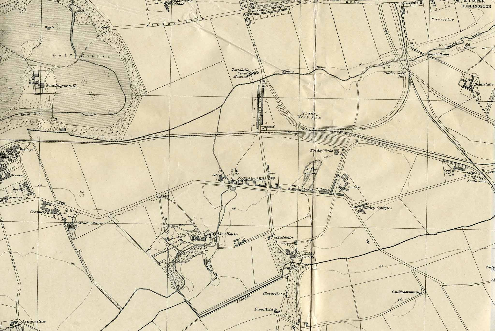 Edinburgh and Leith map, 1925  -  Niddrie and Craigmillar before the housing estates were built