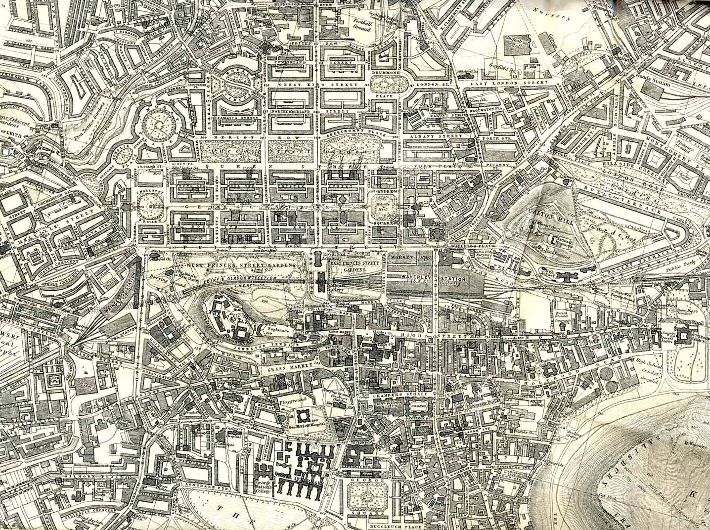 Map of Edinburgh  -  Extract from a map by Bartholomew  -  1925  -  enlarged