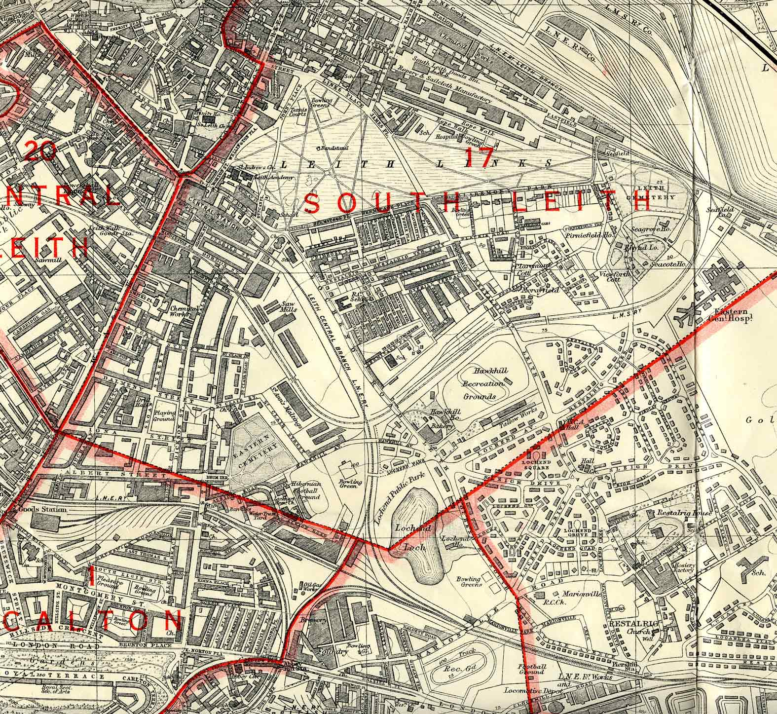 Edinburgh and Leith map, 1940  -  North-east Edinburgh section