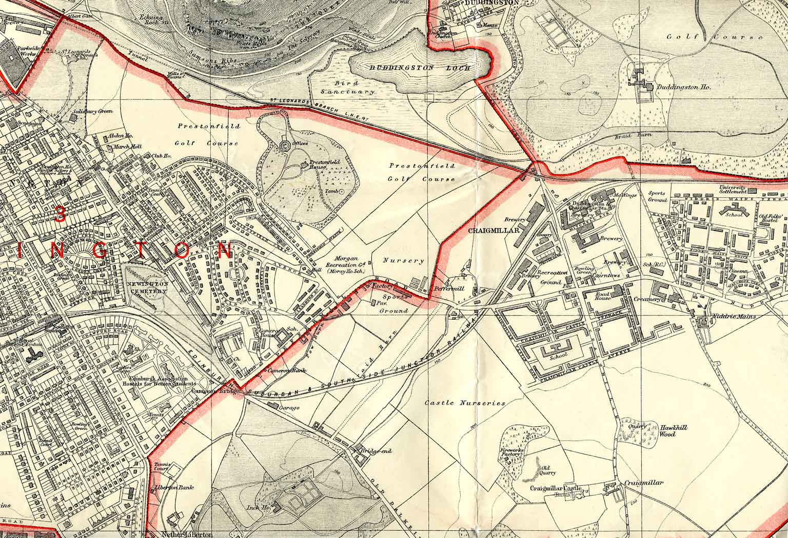 Edinburgh and Leith map, 1925  -  South-east Edinburgh section