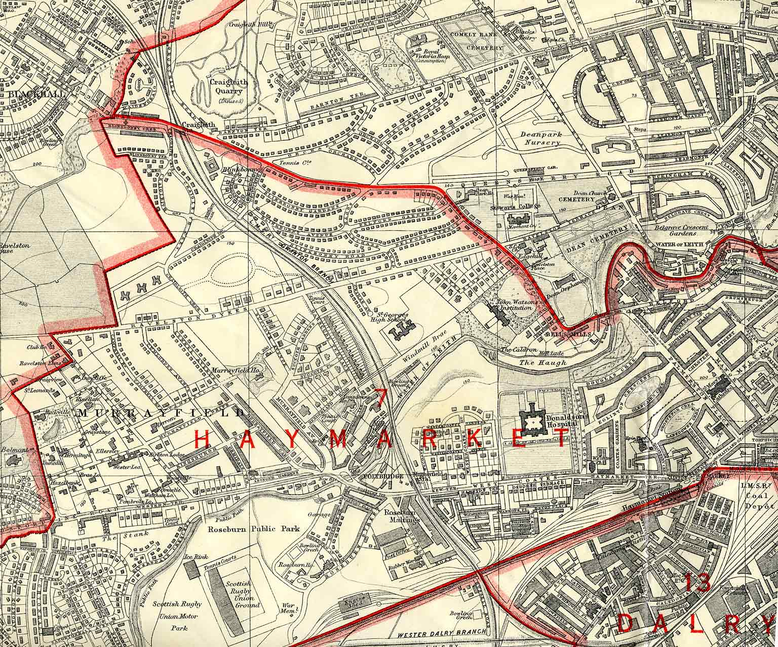 Edinburgh and Leith map, 1925  -  West Edinburgh section