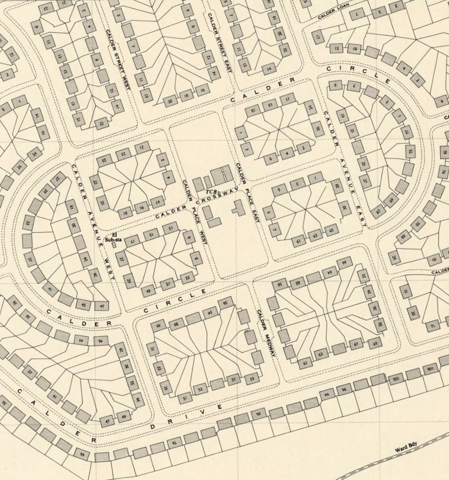 OS Map showing streets within Calder Circle where prefab housing once stood.Prefab