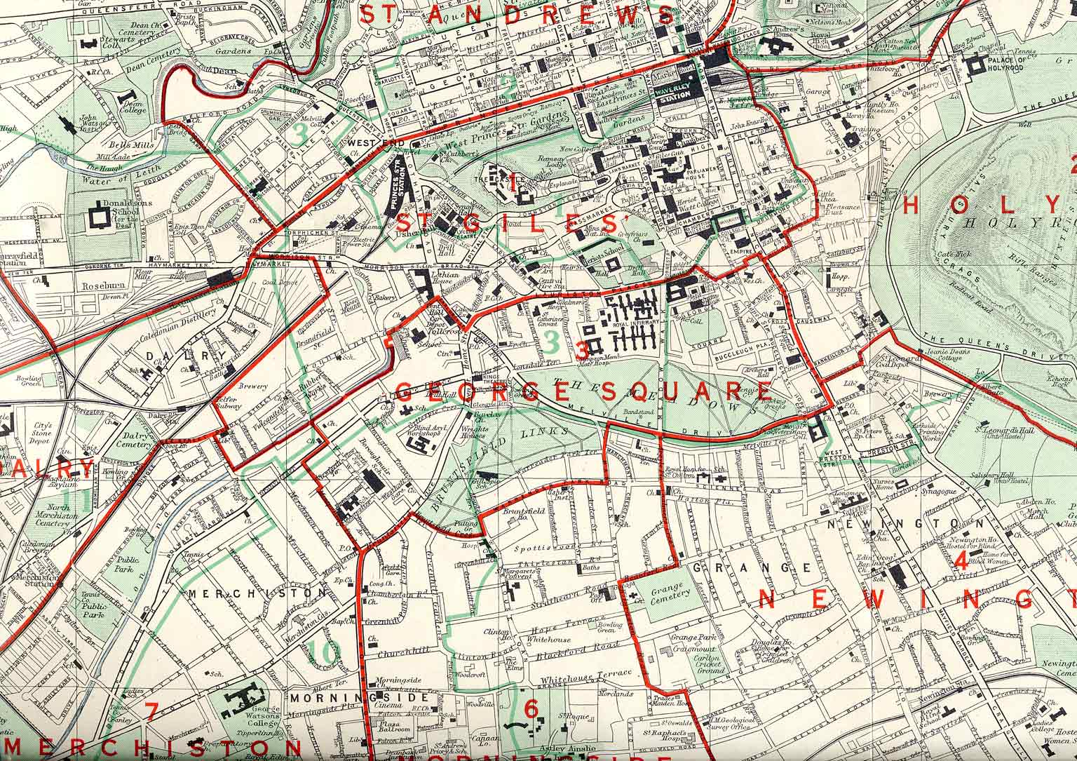Edinburgh and Leith map, 1955  -  Central Edinburgh