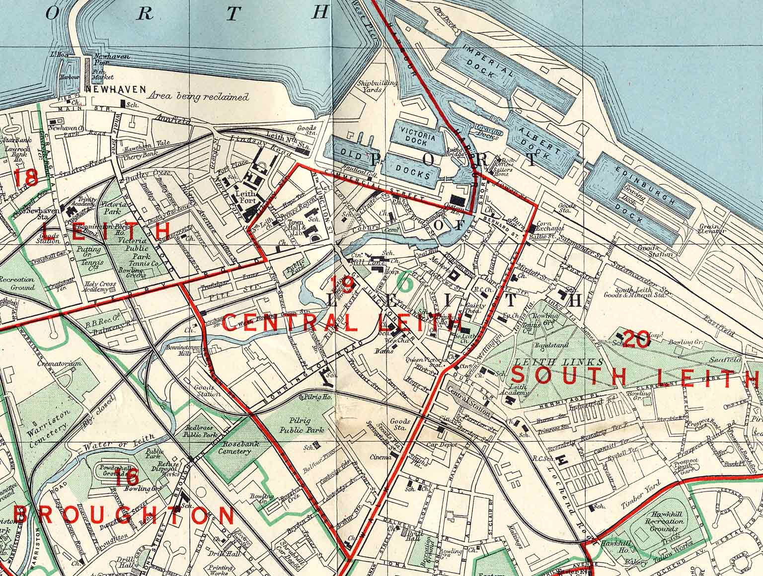 Edinburgh and Leith map, 1955  -  Leith