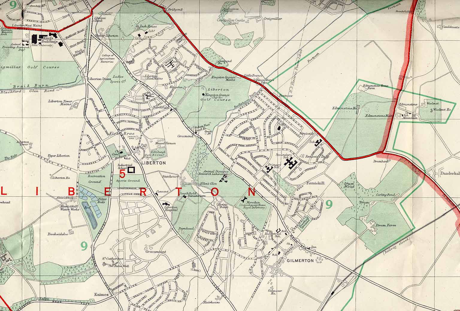 Edinburgh and Leith map, 1955  -  Liberton