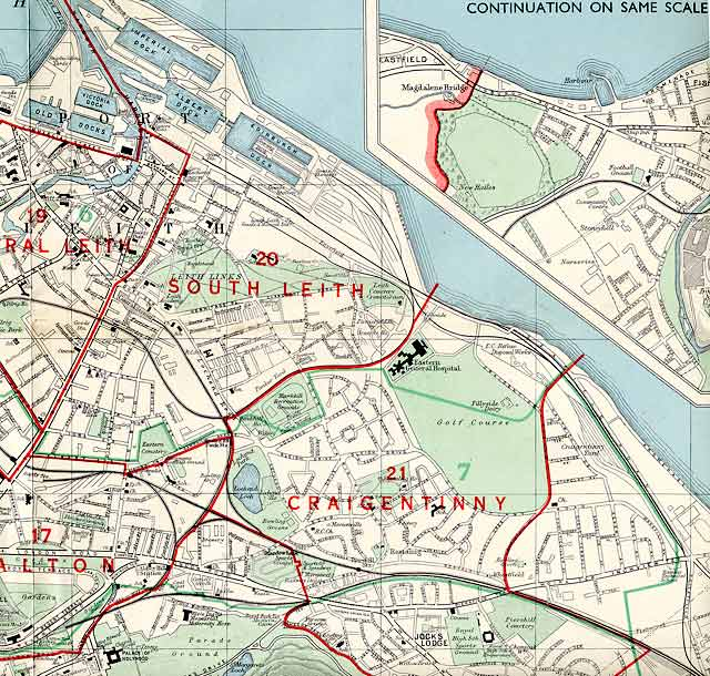Edinburgh and Leith map, 1955  -  North-east Edinburgh