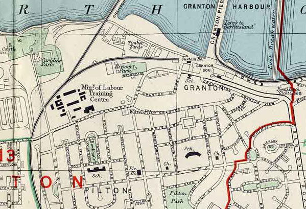 Extract from a 1955 map of Edinburgh  -  Granton Harbour, Granton and Pilton
