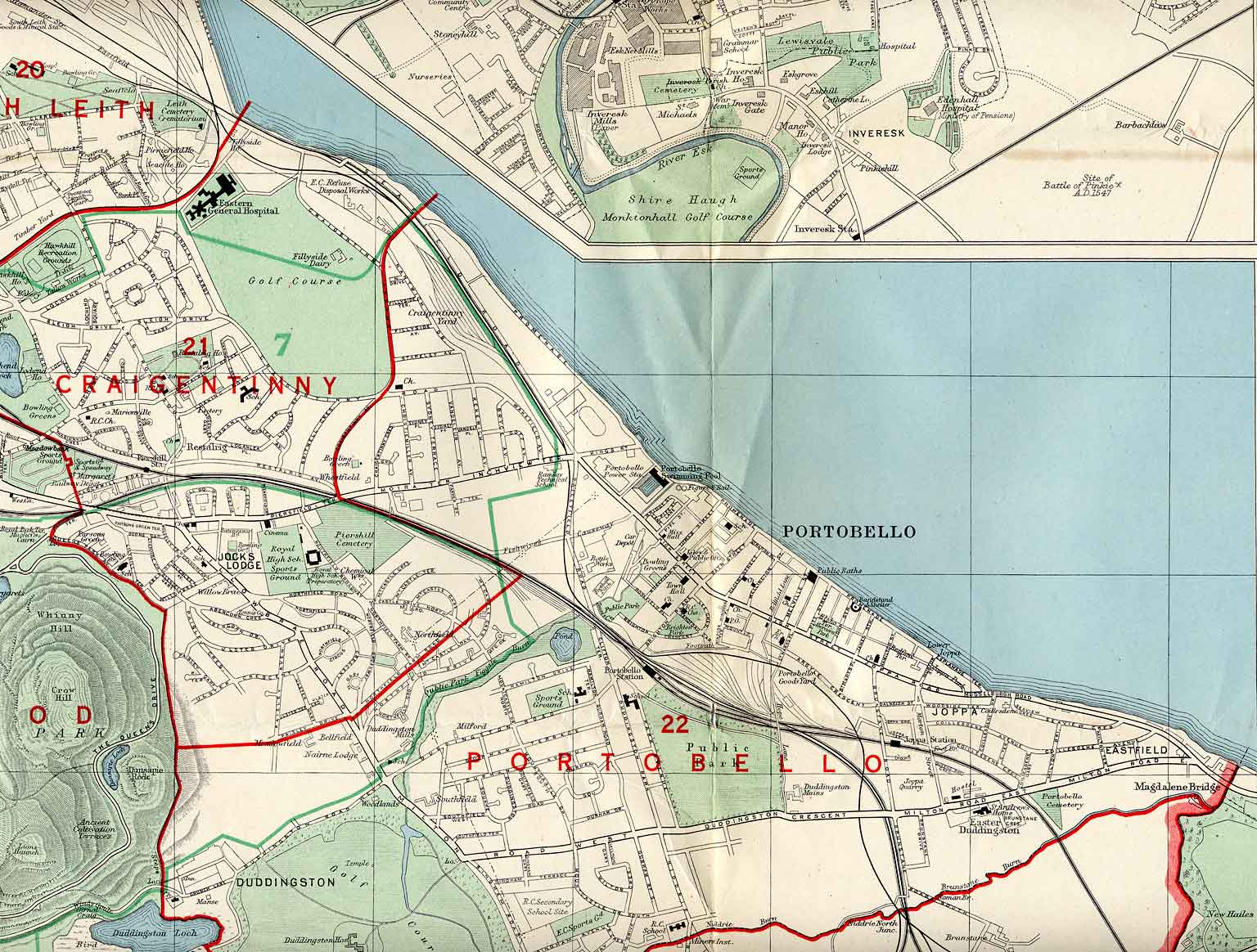 Edinburgh and Leith map, 1955  -  Portobello,  Edinburgh
