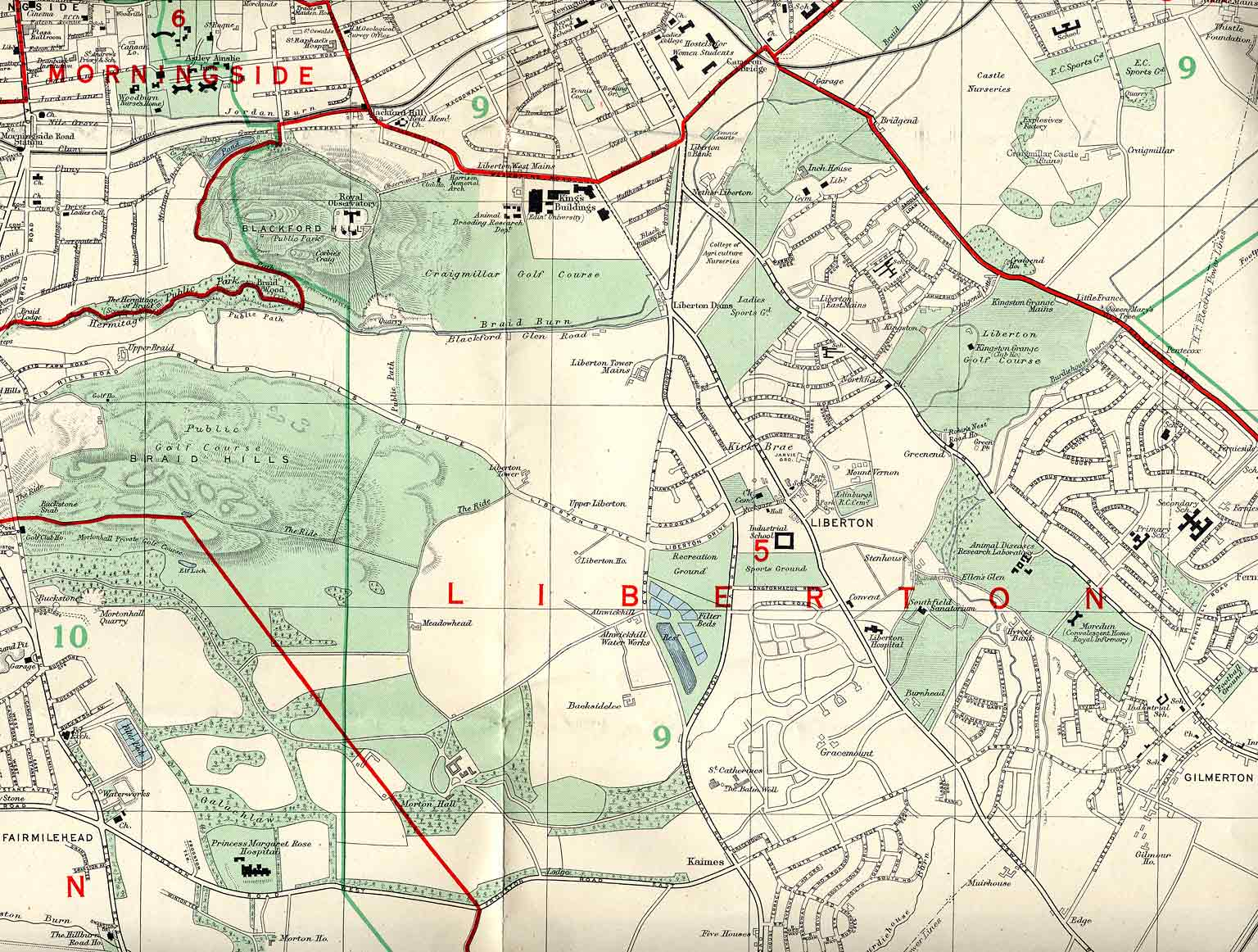 Edinburgh and Leith map, 1955  -  South Edinburgh