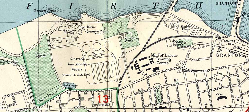 Edinburgh and Leith map, 1955  -  Edinburgh Waterfront