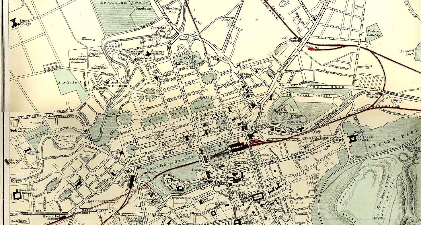 Edinburgh and Leith map of Roads and Railways  -  1884  -  Zoom-in to Central section of the map