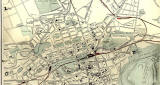 Edinburgh and Leith map of Railways and Roads  -  1884  -  Zoom-in to Central section of the map