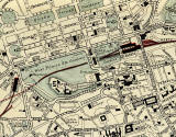 Edinburgh and Leith map of Roads and Railways  -  1884  -  Zoom-in to the City Centre