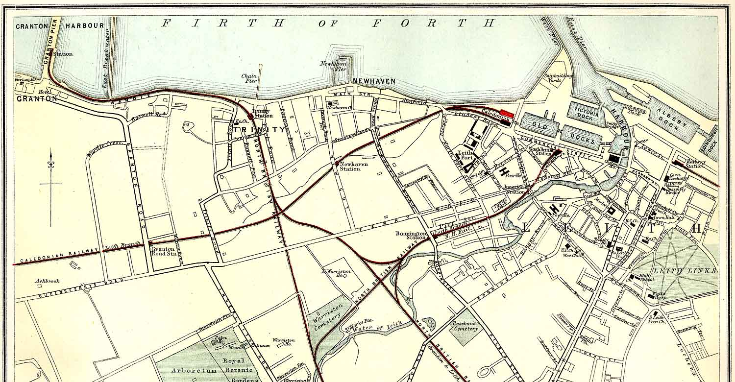 Edinburgh and Leith map of Roads and Railways  -  1884  -  Zoom-in to Northern section of the map