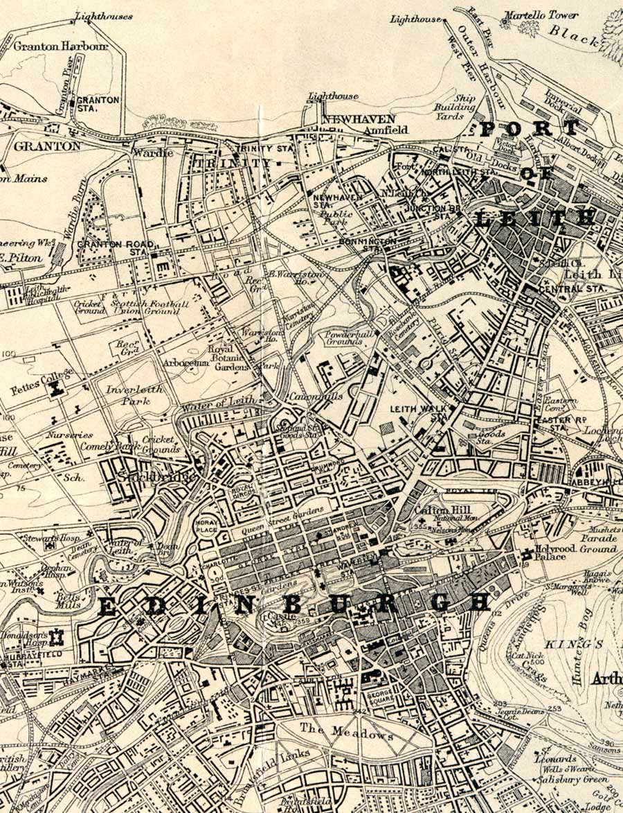 Edinburgh & Leith, 1925  -  Extract from a map by John Bartholemew FRGS