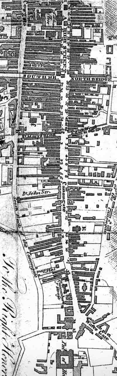 The Royal Mile - with the closes numbered - from a map published in an 1817 Edinburgh Guidebook.