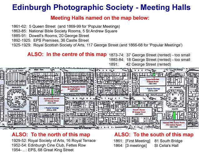 Edinburgh New Town  -  Map showing the Halls at which Edinburgh Photographic Society has held its Meetings