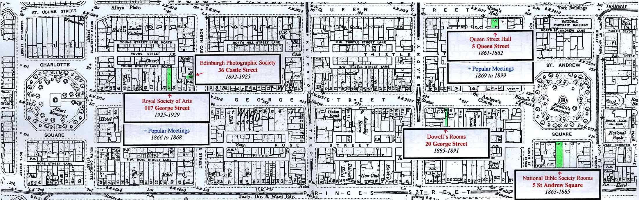 Edinburgh New Town  -  Enlarged map showing the Halls in which Edinburgh Photographic Society has held its Meetings
