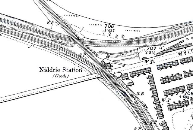 1895 map showing the location of Niddrie Station