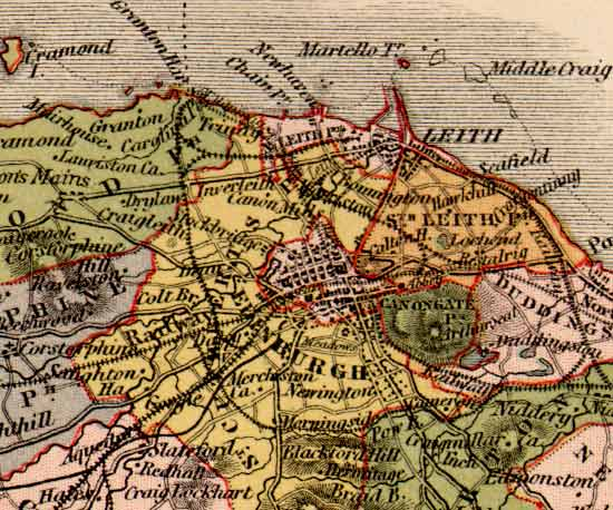 Map of Edinburghshire  -  Cramond to Portobello