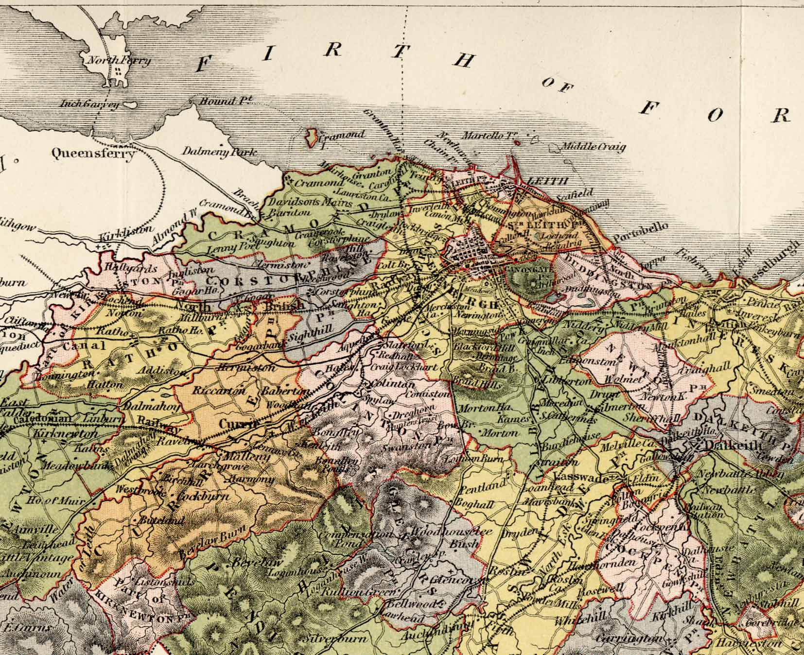 Map of Edinburghshire, 1884  -  A quarter of the map, enlarged