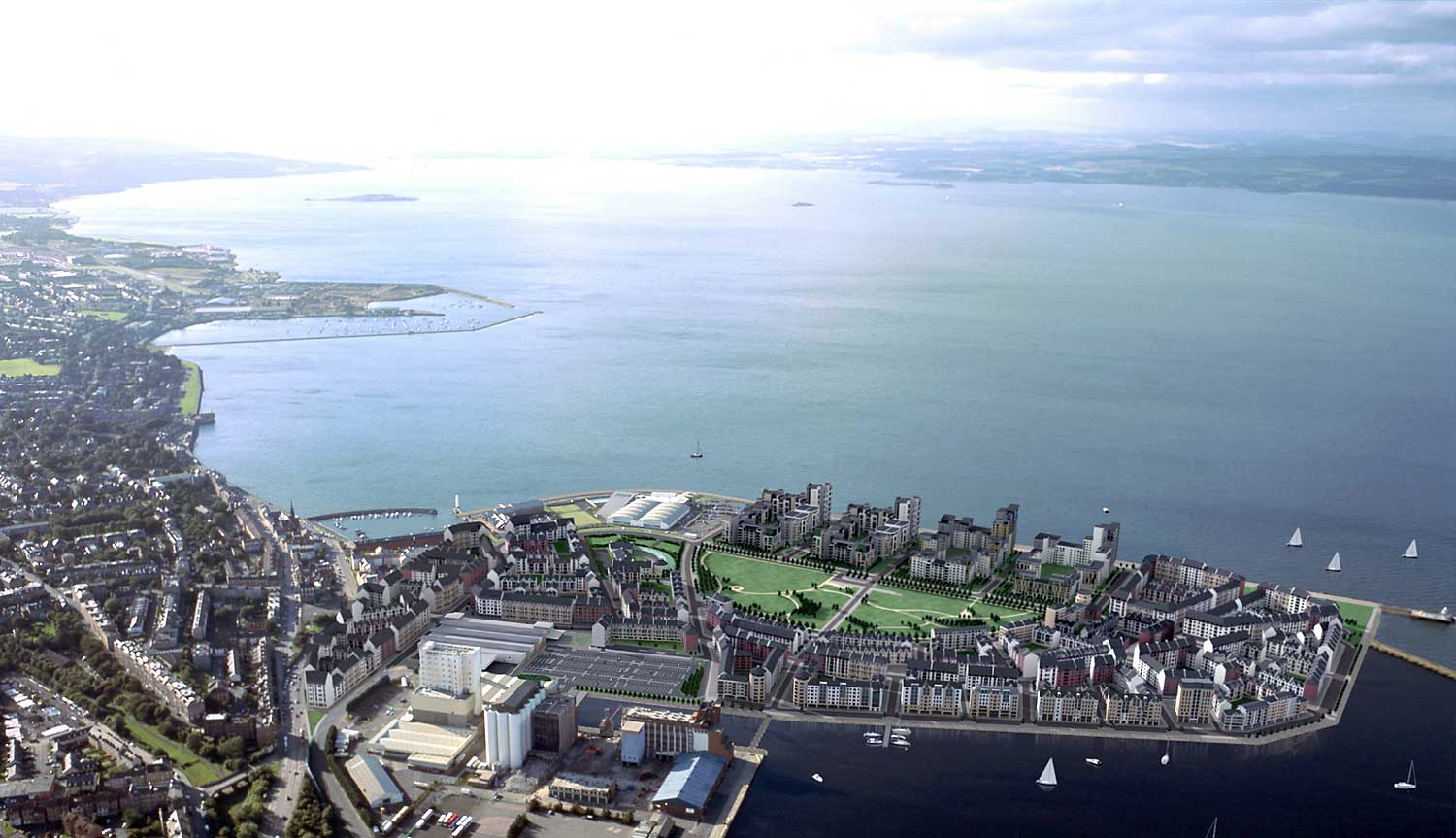Edinburgh Forthside  -  Aerial View  -  Leith Western Harbour in the foreground.  The Firth of Forth in the background.