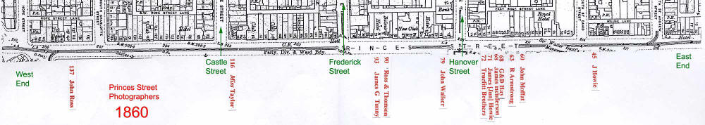 Map of Princes Street studios in 1860