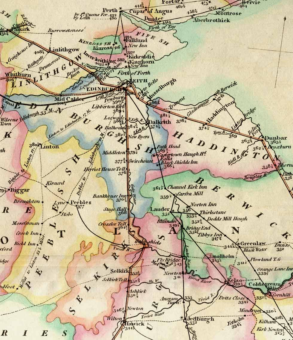 Roads in SouthEast Scotland with distances to London 1806 enlarged