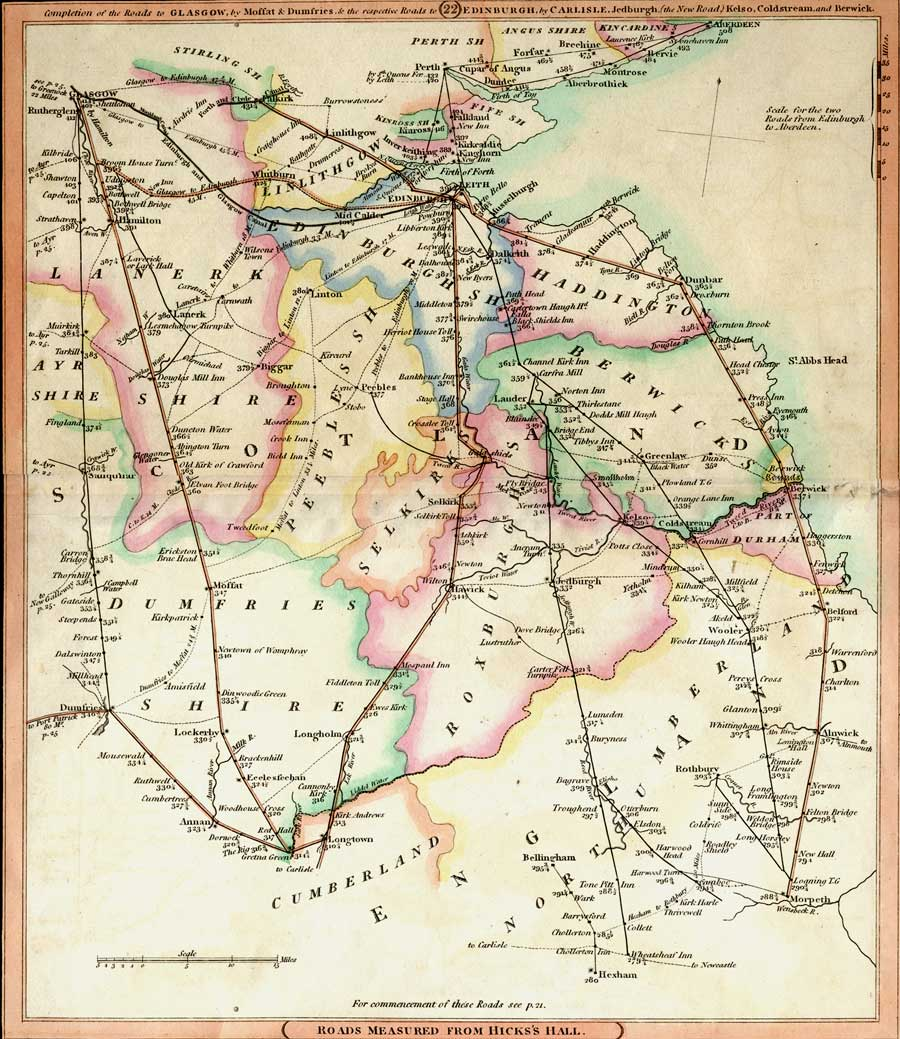 Southern Scotland  -  Map of roads to Glasgow and Edinburgh with distances to London  -  1806