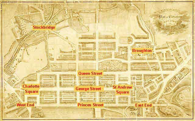 Edinburgh New Town  -  Kirkwood Map, 1819  -  Streets and Districts added