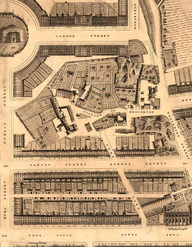 Detail from map of Edinburgh New Town  -  Kirkwood, 1819  -  Broughton
