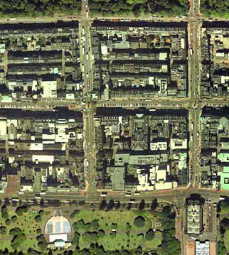 Detail from an aerial photograph of Edinburgh  -  XYZ Digital Map Co, 2001  -  First New Town, Central Section