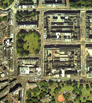 Detail from an aerial photograph of Edinburgh  -  XYZ Map Co, 2001  -