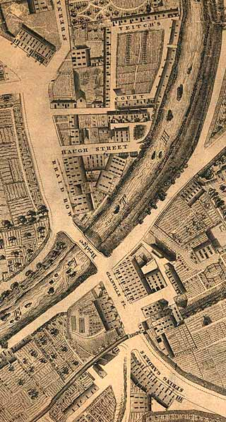 Detail from map of Edinburgh New Town  -  Kirkwood, 1819  -  Stockbridge