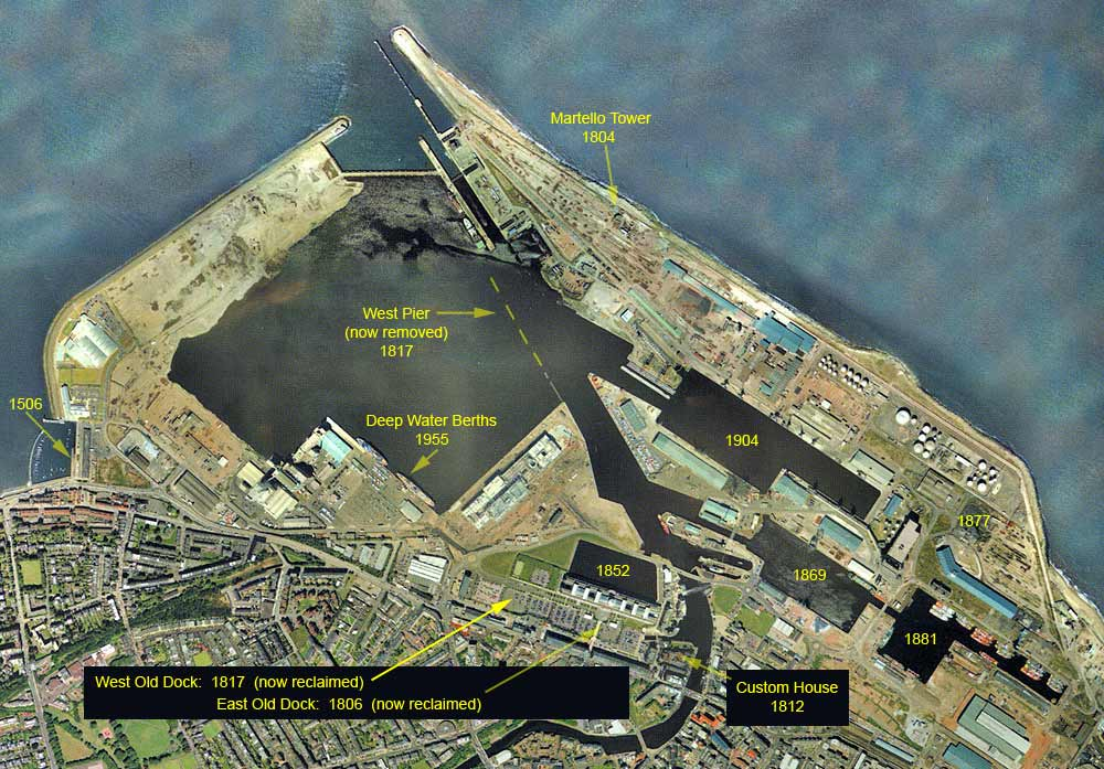 Aerial view of Leith Docks  -  2001  -  with dates