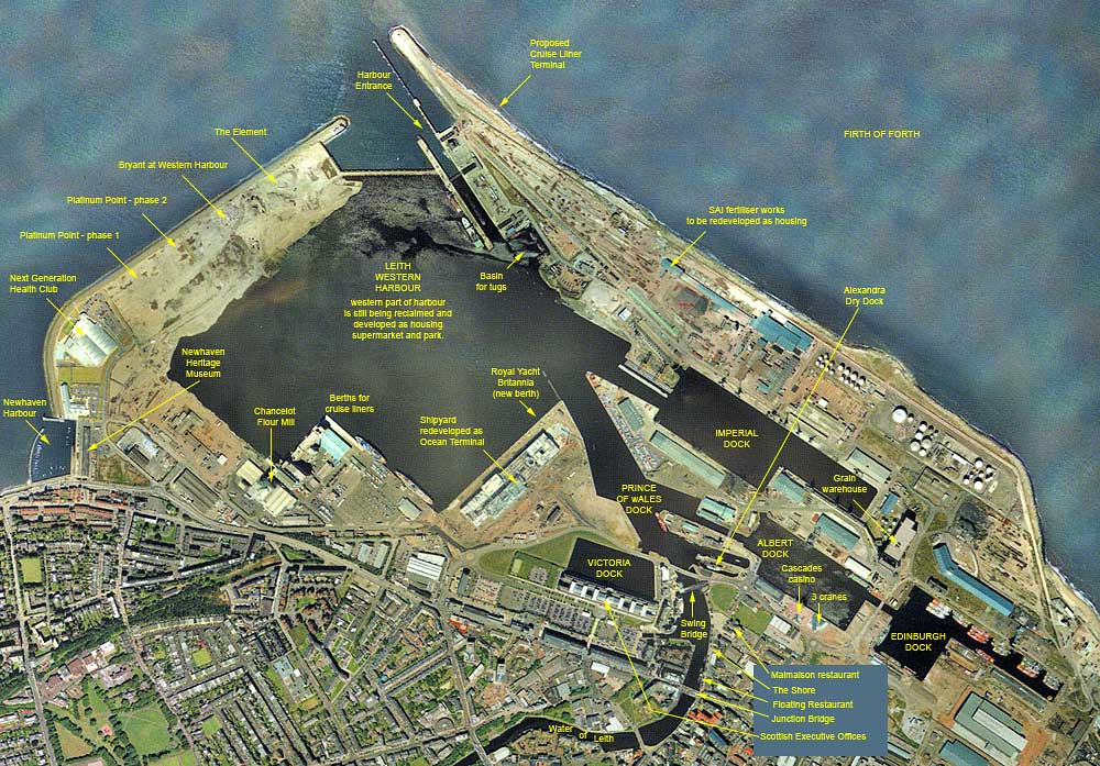 Aerial view of Leith Docks  -  2001  -  with key